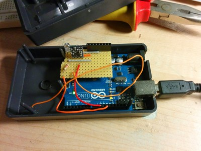 Soldered 'Arduino shield' to control power sockets.