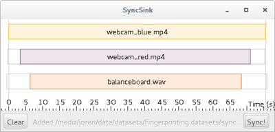 SyncSink Synchronize media files. A user-friendly interface to synchronize media and data files.  First a reference media-file is added using drag-and-drop. The audio steam of the reference is extracted and plotted on a timeline as the topmost box. Subsequently other media-files are added. The offsets with respect to the reference are calculated and plotted. CSV-files with timestamps and data recorded in sync with a stream can be attached to a respective audio stream. Finally, after pressing Sync!, the data and media files are modified to be exactly in sync with the reference.