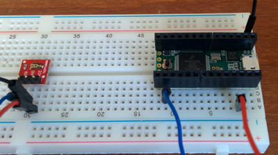 The hardware: a Teensy and a simple light sensor.