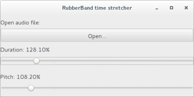 User interfact to control tempo/pitch of audio in Java. It uses RubberBand, a high quality time-stretcher library implemented in C++, called via JNI.