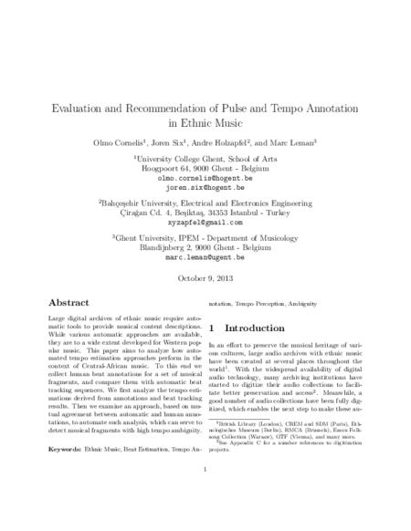 Download 'Evaluation and Recommendation of Pulse and Tempo Annotation in Ethnic Music'