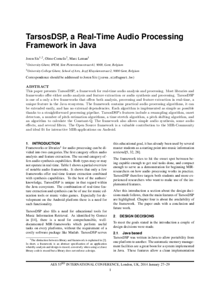 Download 'TarsosDSP, a Real-Time Audio Processing Framework in Java'