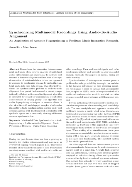 Download 'Synchronizing Multimodal Recordings Using Audio-To-Audio Alignment'