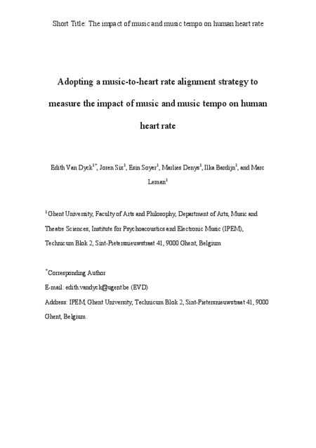 Download 'Adopting a music-to-heart rate alignment strategy to measure the impact of music and music tempo on human heart rate'
