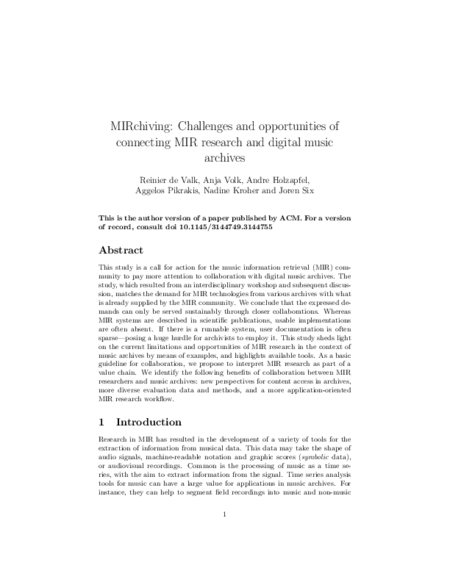 Download 'MIRchiving: Challenges and opportunities of connecting MIR research and digital music archives'