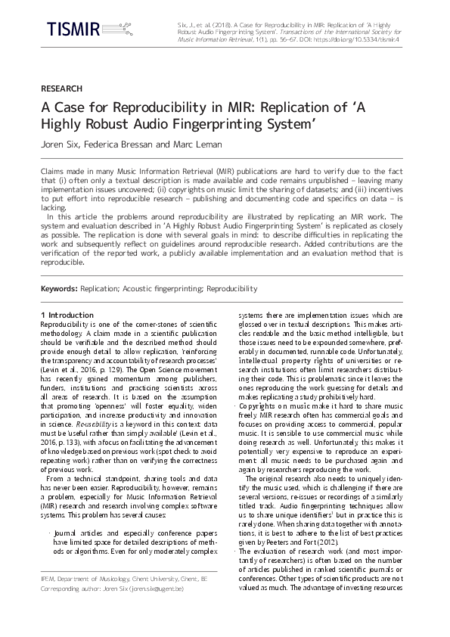 Download 'A Case for Reproducibility in MIR: Replication of  'A Highly Robust Audio Fingerprinting System''