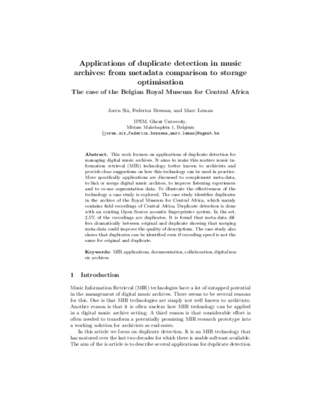 Download 'Applications of Duplicate Detection in Music Archives: from Metadata Comparison to Storage Optimisation'