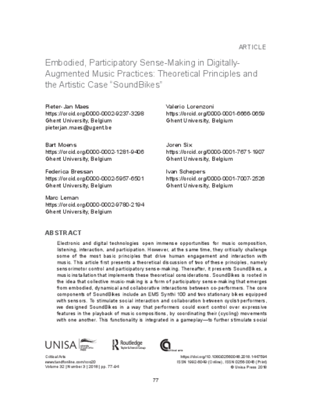 "Download 'Embodied, Participatory Sense-Making in Digitally-Augmented Music Practices: Theoretical Principles and the Artistic Case ""SoundBikes""'"